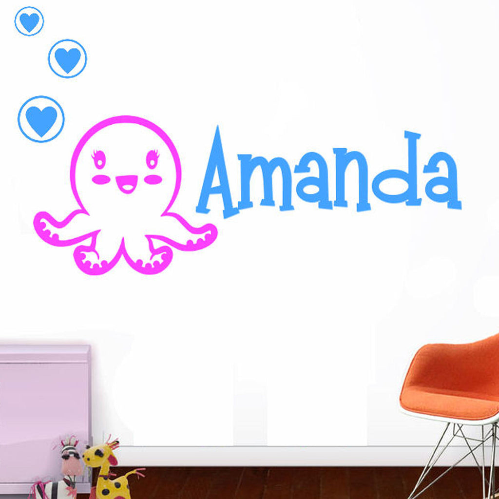 Cutie Octopus & Heart Bubbles Personalized Wall Decal 2 Colors