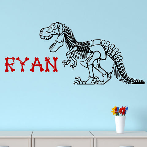 T-Rex Bones Personalized Wall Decal 2 Colors