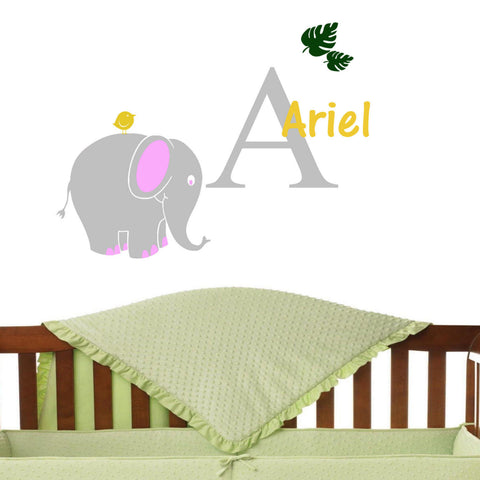 Elephant & Birdie Monogram Personalized Wall Decal