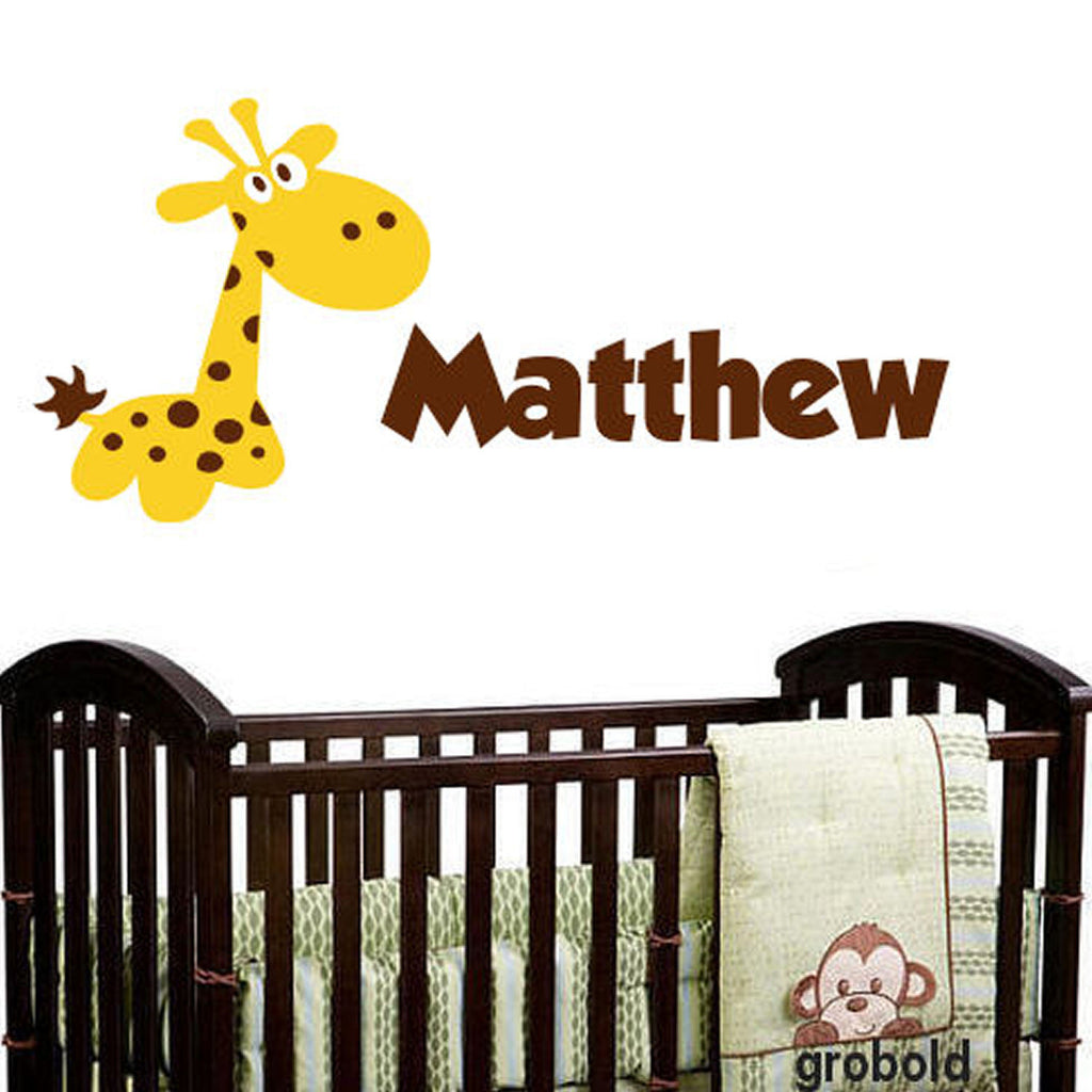 Cartoon Giraffe Personalized Wall Decal 2 Colors