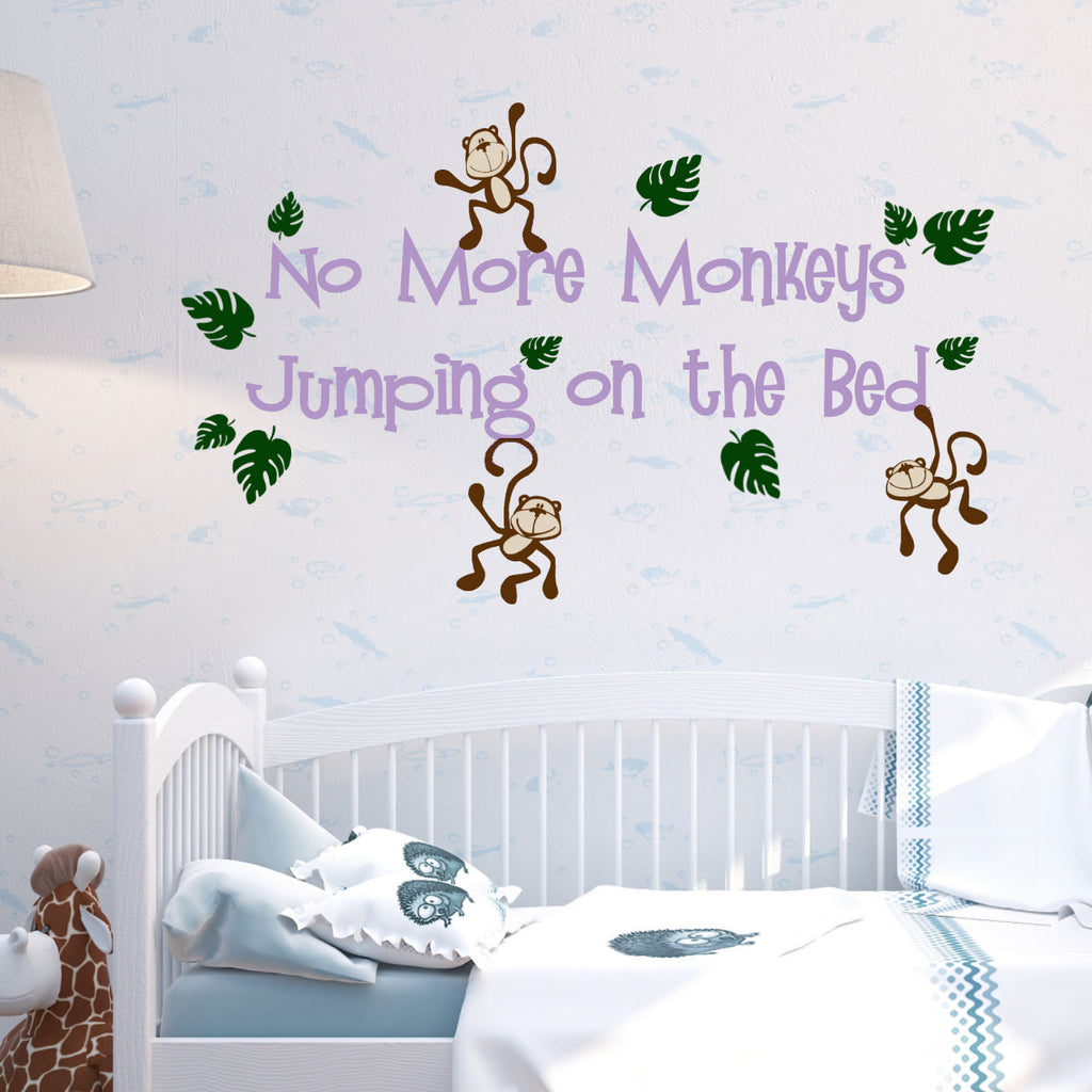 No More Monkeys Jumping on the Bed Wall Decal Sticker