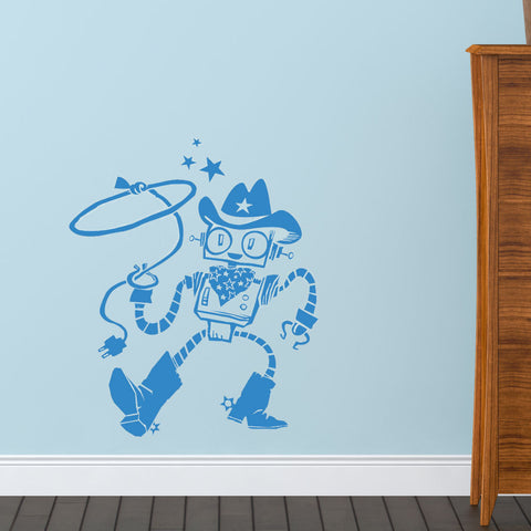 Cowboy Robot Wall Decal Sticker