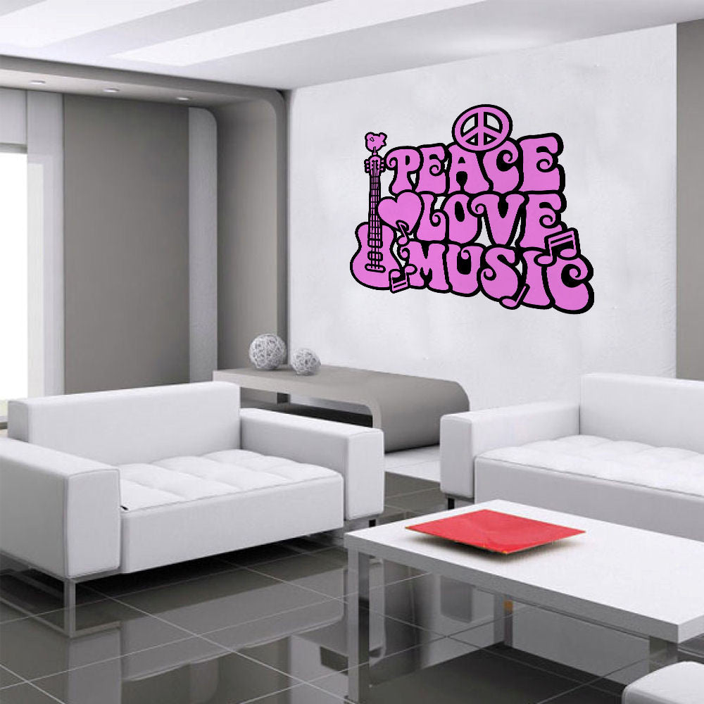 Peace, Love & Music Wall Decal 2 Color
