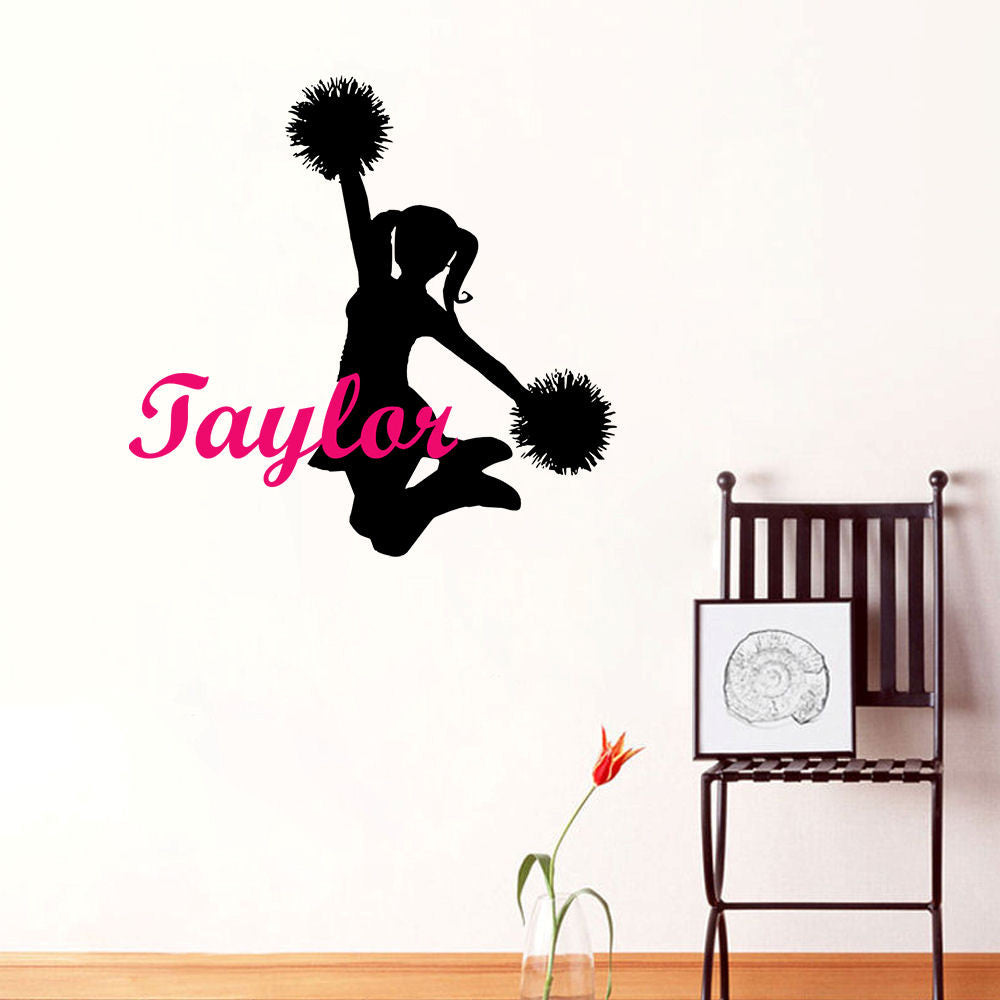 Cheerleader Personalized Wall Decal 2 Color