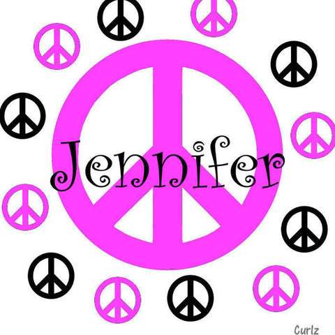 Peace Sign Personalized Wall Decal Sticker 2 Color