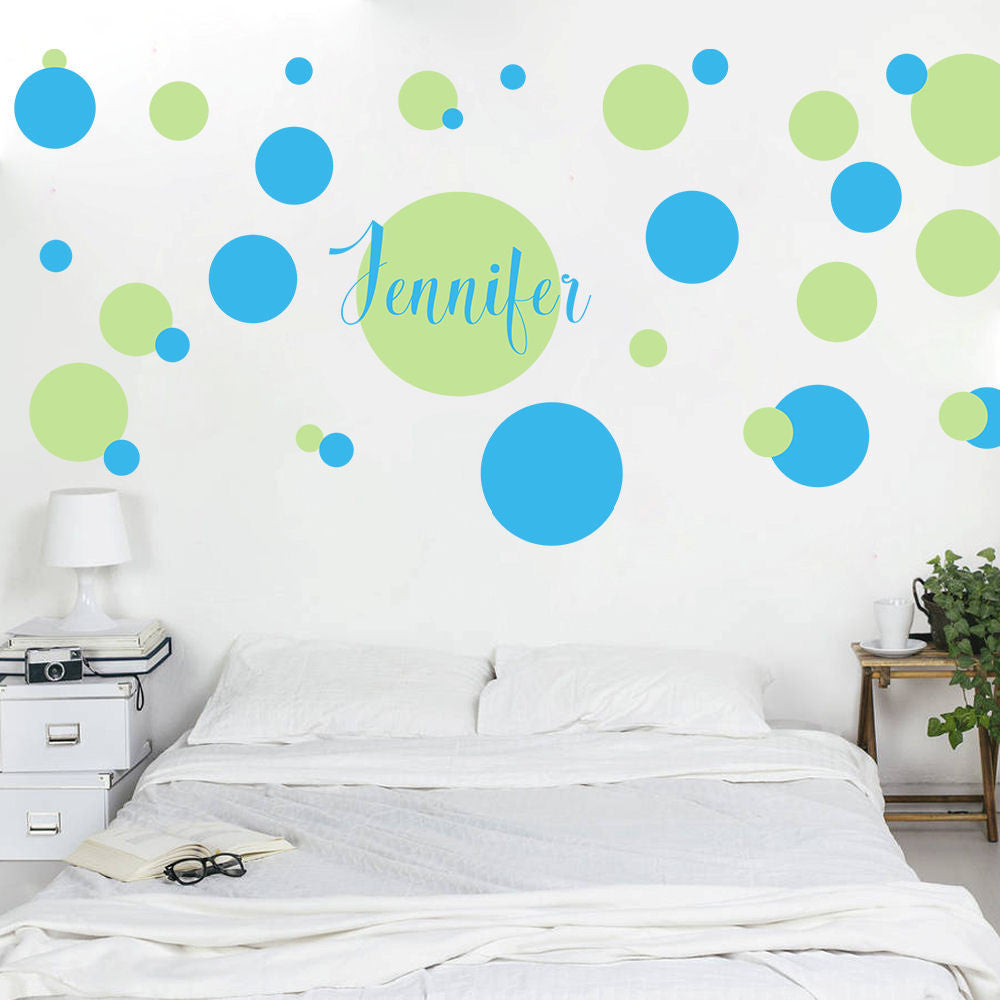 Poka Dot Personalized Wall Decal 2 Colors 40 Piece Set