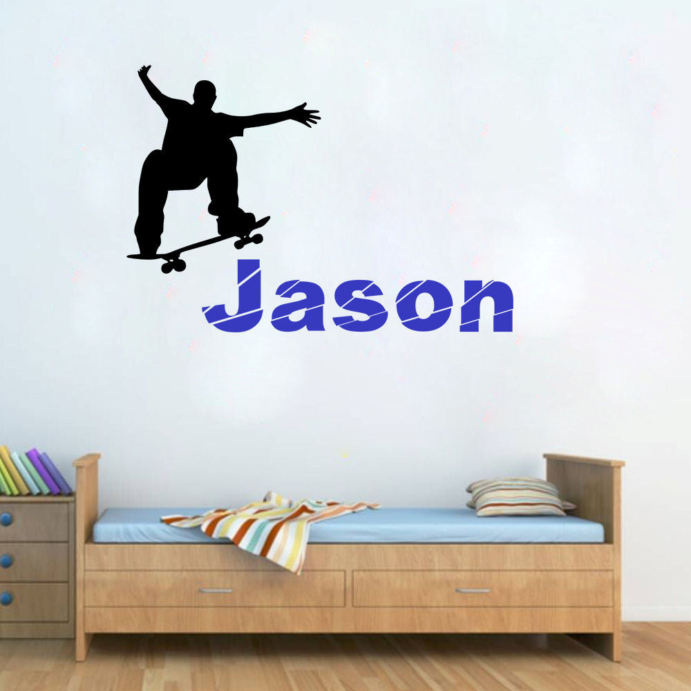 Skateboarder Personalized Wall Decal Sticker 2 Color