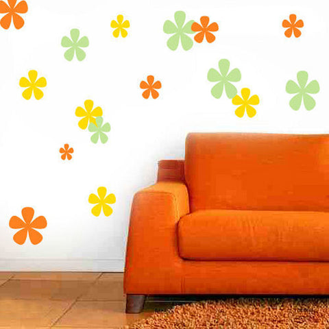 Flowers Wall Decal 102 Piece Set 3 Colors