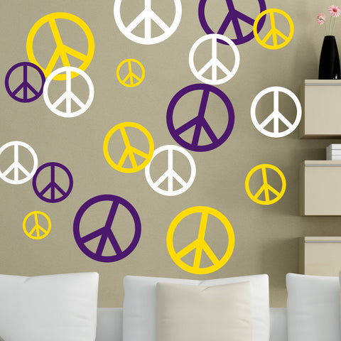 Peace Signs Wall Decal 51 Piece Set 3 Colors