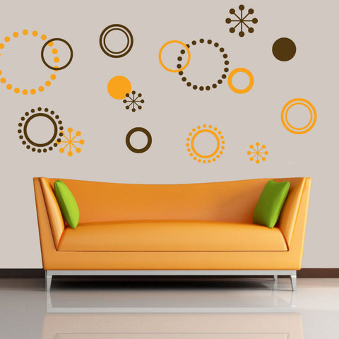 Circle Dots Wall Decal 2 Colors 40 Piece Set