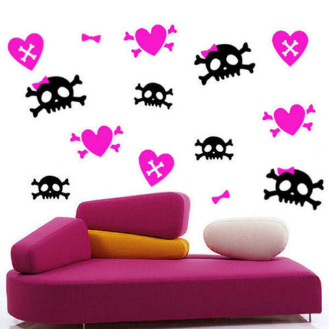 Girly Skulls and Hearts Wall Decals 48 Piece Set