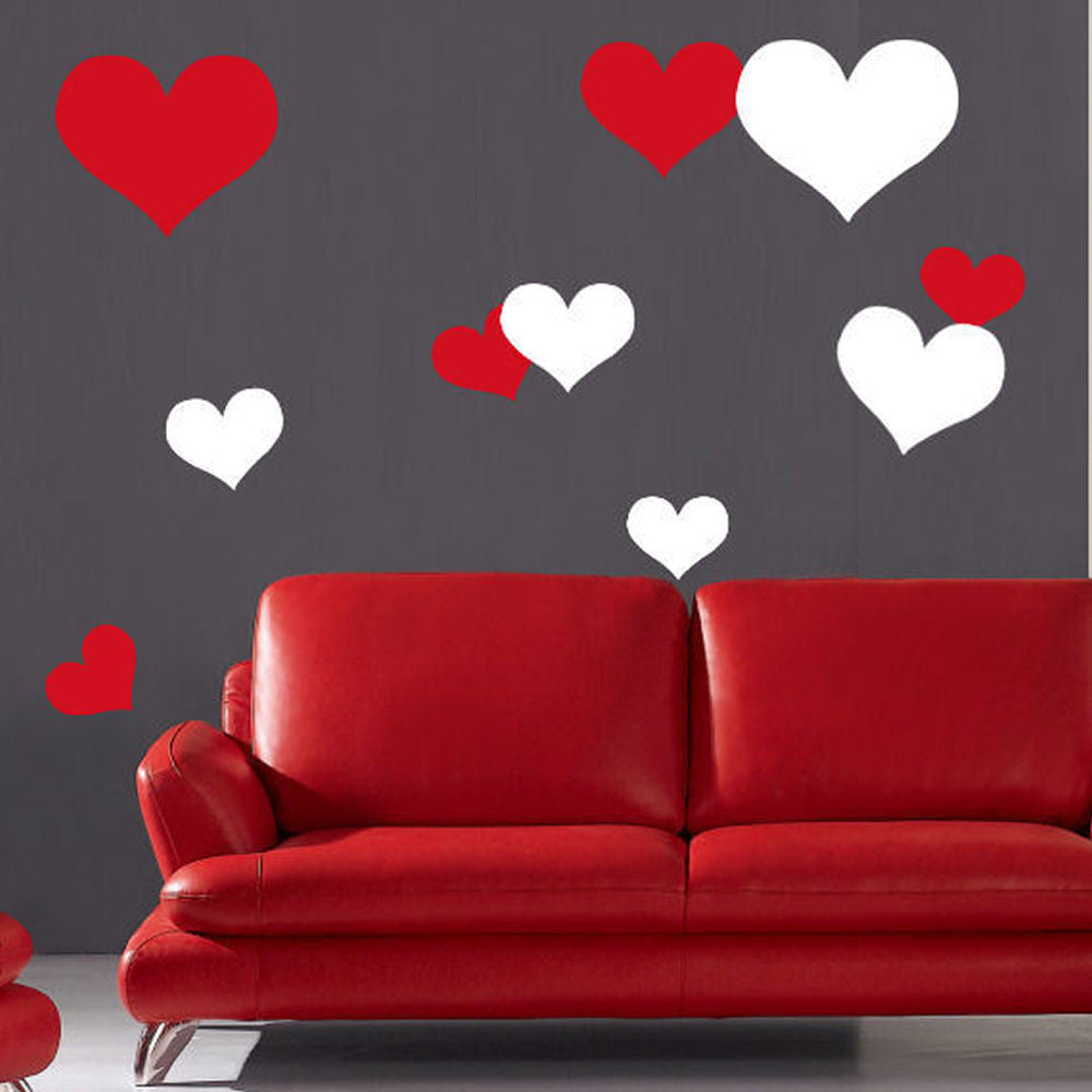 Hearts Wall Decals 100 Piece Set 2 Color