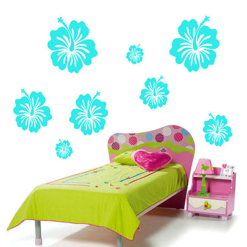 Hibiscus Wall Decal Sticker 12 Piece Set