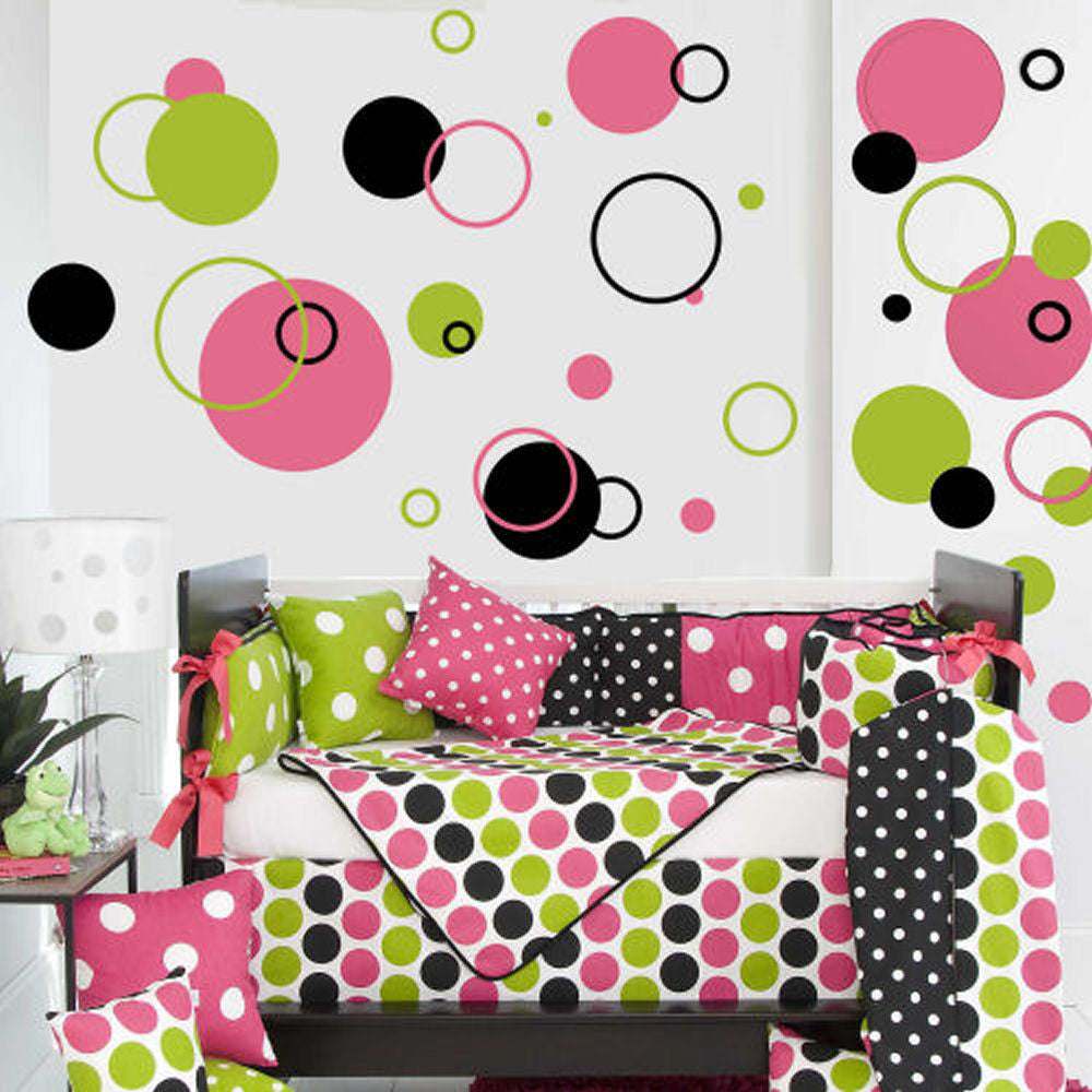 Poka Dots & Circles Wall Decal 102 Piece Set 3 Colors