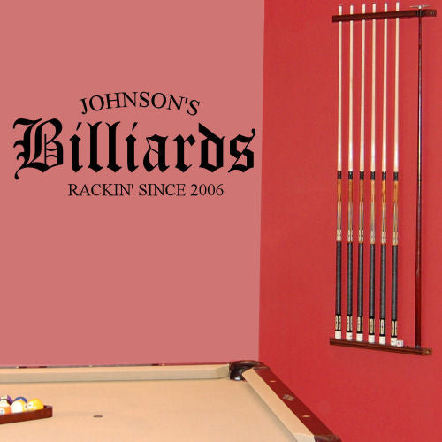 Family Billiards Personalized Wall Decal