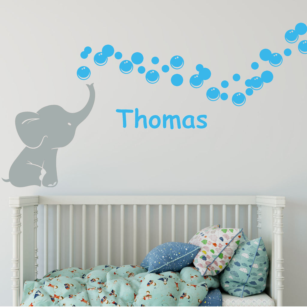 Elephant Bubbles Multi-Colored with Personalized Name Vinyl Wall Decal