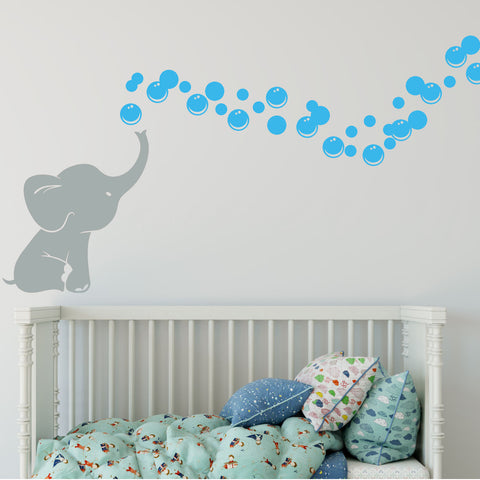 Elephant Bubbles Multi-Colored Vinyl Wall Decal