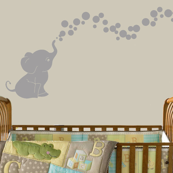 Cutie Elephant Bubbles Vinyl Wall Decal Sticker