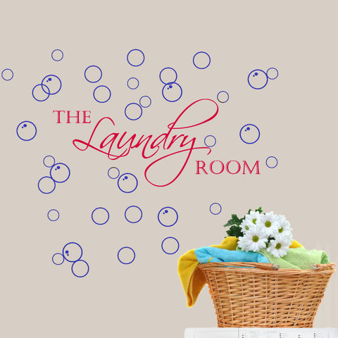 Laundry Room with Bubbles Wall Decal Sticker 2 Color