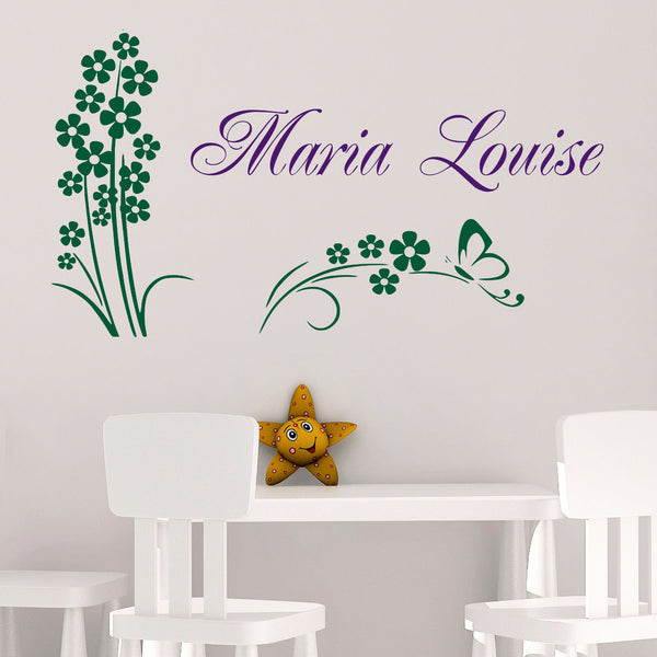 Florals with Personalized Name Wall Decal - 2 Color