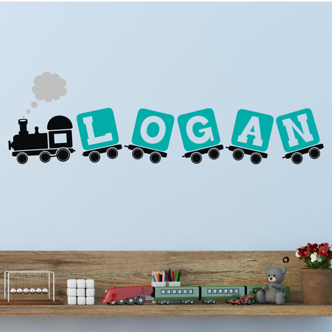 Train and Blocks Personalized Three Color Wall Decal