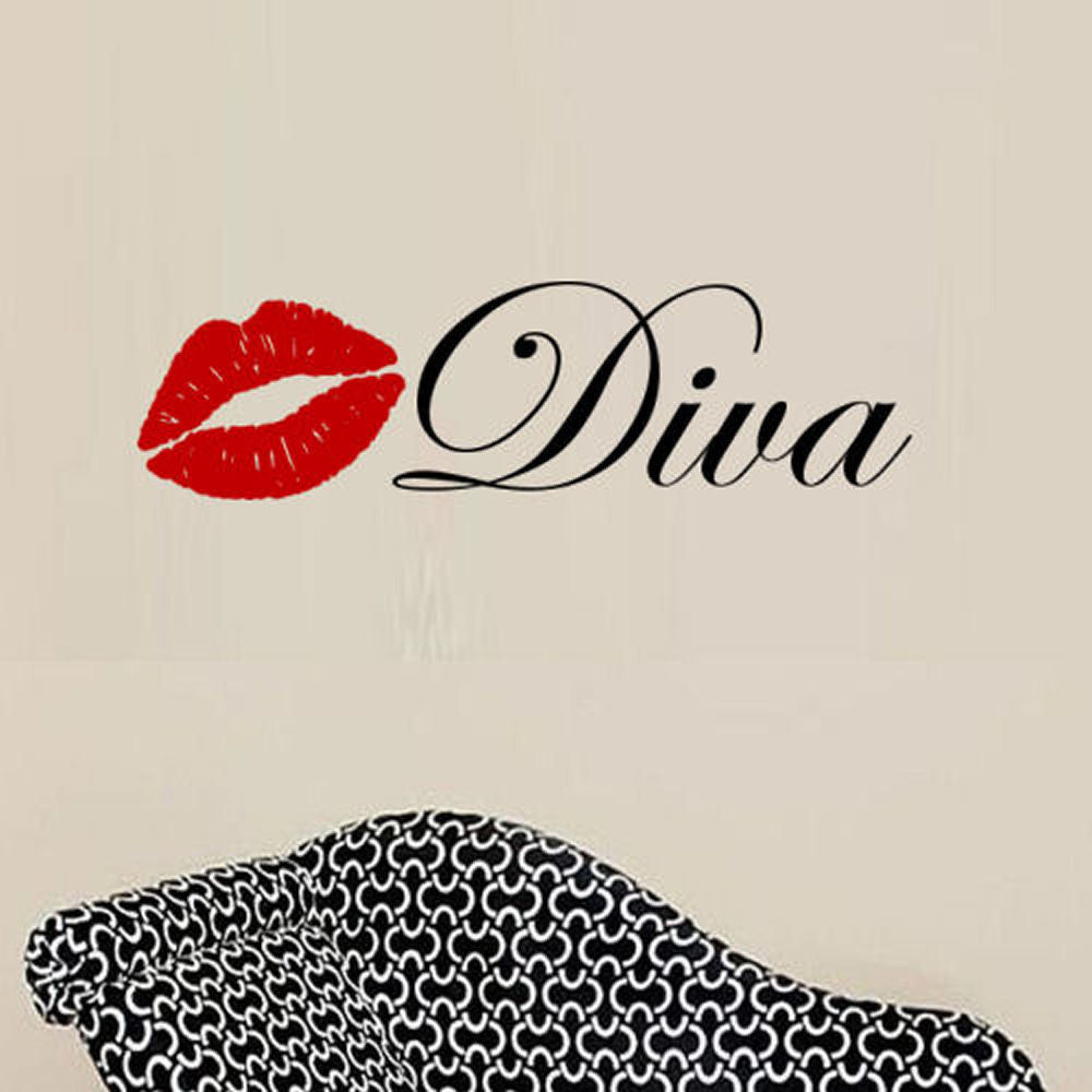 Diva with Lips Wall Decal 2 Color