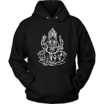Ganesh on Lotus Hoodie - Mind . Body . Spirit . Mana - Cannabis Marijuana Lifestyle Women's Clothing
