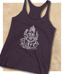 Ganesh Women's Racerback Tank - White Image - Mind . Body . Spirit . Mana - Cannabis Marijuana Lifestyle Women's Clothing