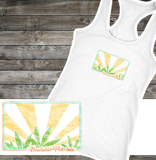 Hawaiian Pakalolo Racerback Tank Top - Mind . Body . Spirit . Mana - Cannabis Marijuana Lifestyle Women's Clothing