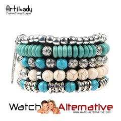Artilady Hand Buddah Five Pieces Set Blue Stone Bracelet from watchalternative.com