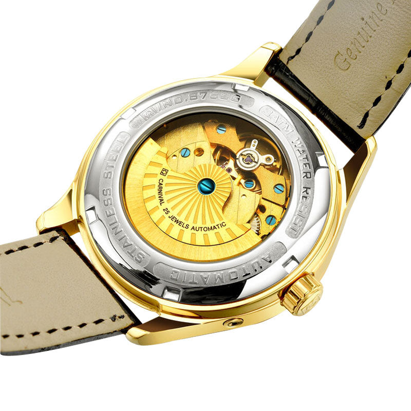 Carnival Multifunction Automatic Dress Watch with Dual Time Zone Display