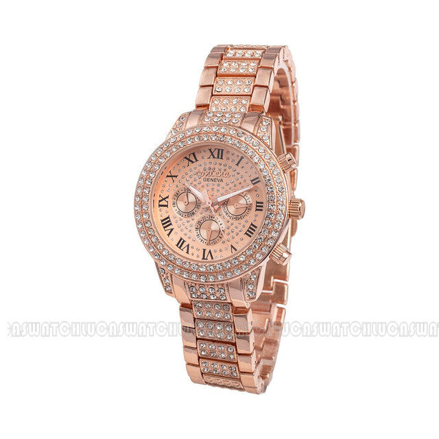 Rose Gold Watch with Diamonds, Rose Gold Watch for Women, Women's Rose Gold Watches, Designer Watches for Women