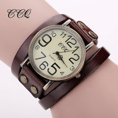 CCQ Antique Leather Bracelet Watch, Bracelet Watch, Bracelet watch for Girls