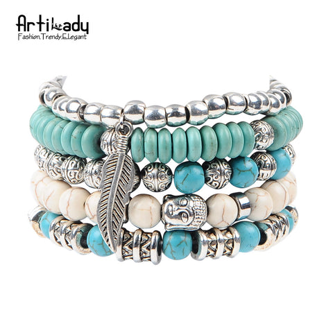 Artilady new buddha beads set bracelets boho turquoise bracelet set for statement women jewelry party gift