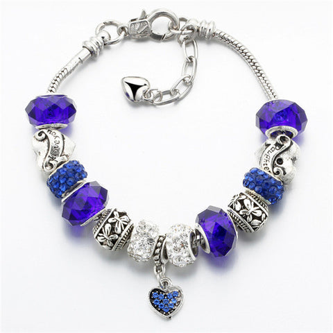 Blue Glass Bracelet, Crystal Beads Bracelets, Jewelry, Charm Bracelets, Charm Bracelet from watchalternative.com