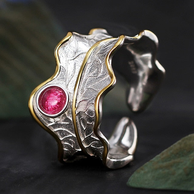 Handmade Adjustable Leaf Rings on Genuine 925 Sterling Silver with Natural Tourmaline