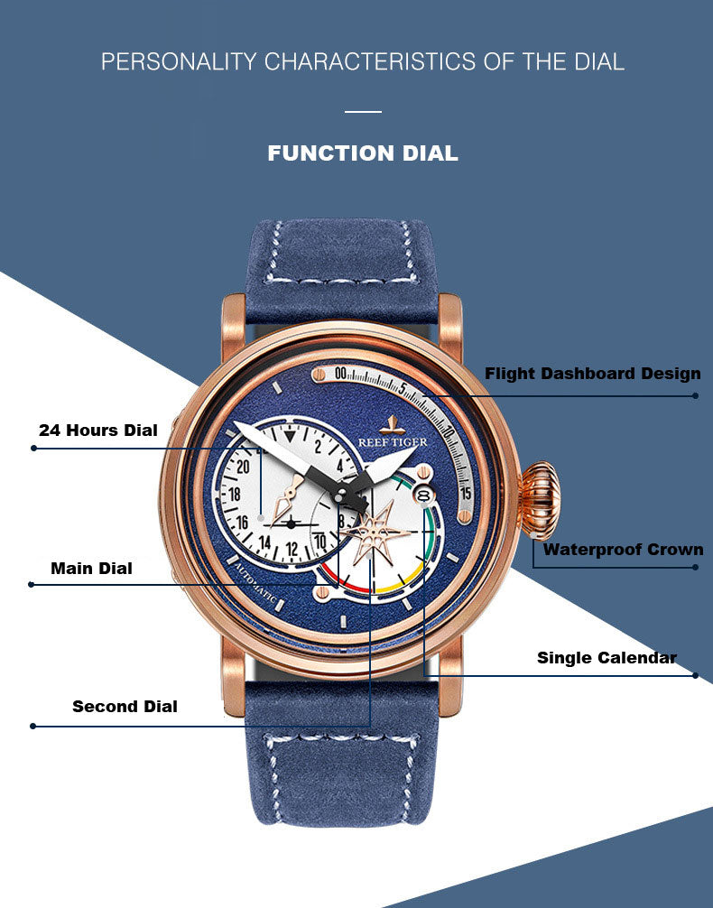 Reef Tiger Aurora Series Aviator Elegant Multifunction Automatic Wrist Watch for Men and Women