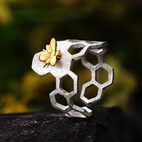 Unique Handmade 925 Sterling Silver Honeycomb Gold Bee Open Ring