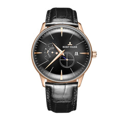 Reef Tiger Ultra Thin Automatic Classic Dress Watch With Day & Night Dial