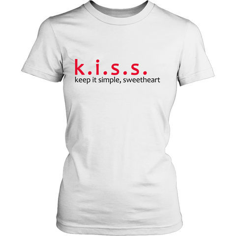k.i.s.s. keep it simple, sweetheart Women's Ring Spun Combed Cotton Tee / White or Silver (Gray)