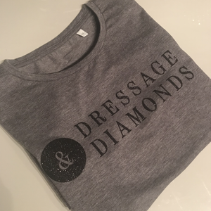Dressage and diamond tee (grey with black sparkle print Size xxl)