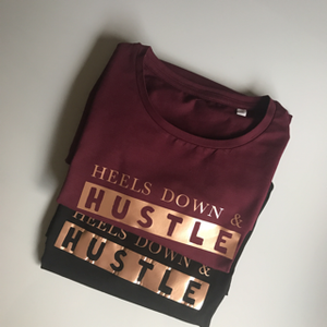 Heels down and hustle t-shirt