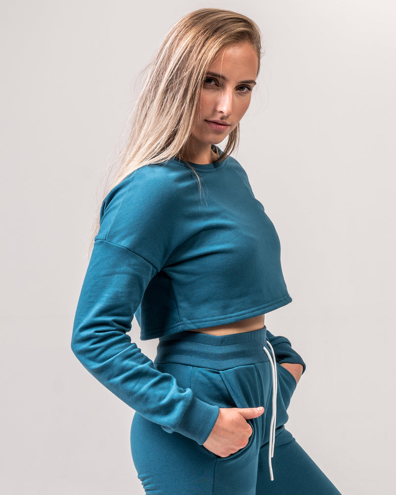 Cosy Cropped Jumper - Azure Blue