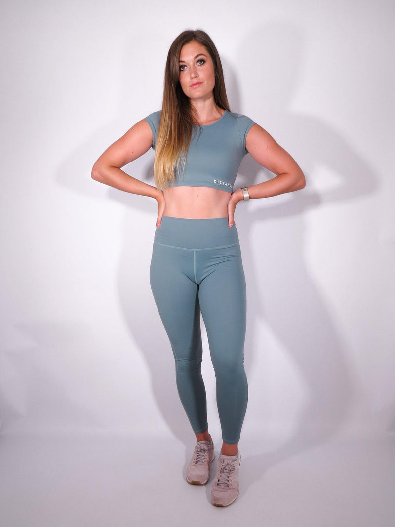 Infinity Pop Sleeve Crop Top - Ocean - DistanceWear