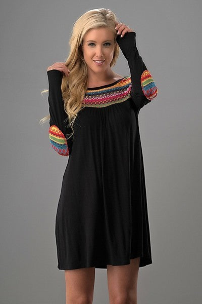 Tribal Print Long Sleeve Dress with Elbow Patch