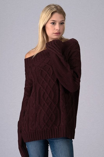 Off The Shoulder Long Sleeve Knit Sweater