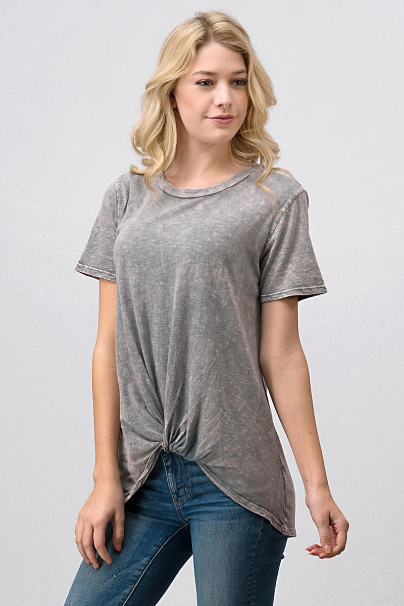 Short Sleeve Mineral Wash Tee with Front Knot Twist