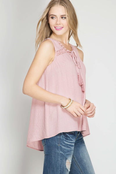 SLEEVELESS TOP WITH TASSEL TIE AND CROCHET LACE TRIM