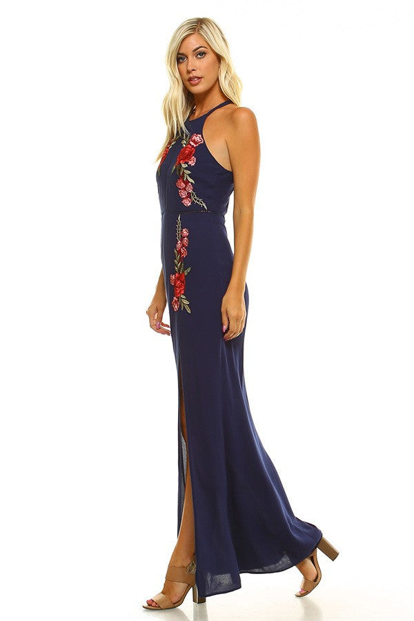 FLOWER PATCH WOVEN LONG DRESS W/ SLIT