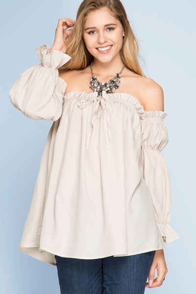 LONG SLEEVE OFF SHOULDER BLOUSE